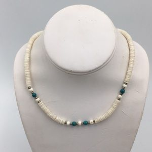 Puka Shell With Blue Beads Necklace